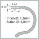 Sportflex Silikon Bügelenden Kinder,  Farbe grau, Bohrung 1,3mm   Bestell-Nr. 210 516, VPE = 1 Paar